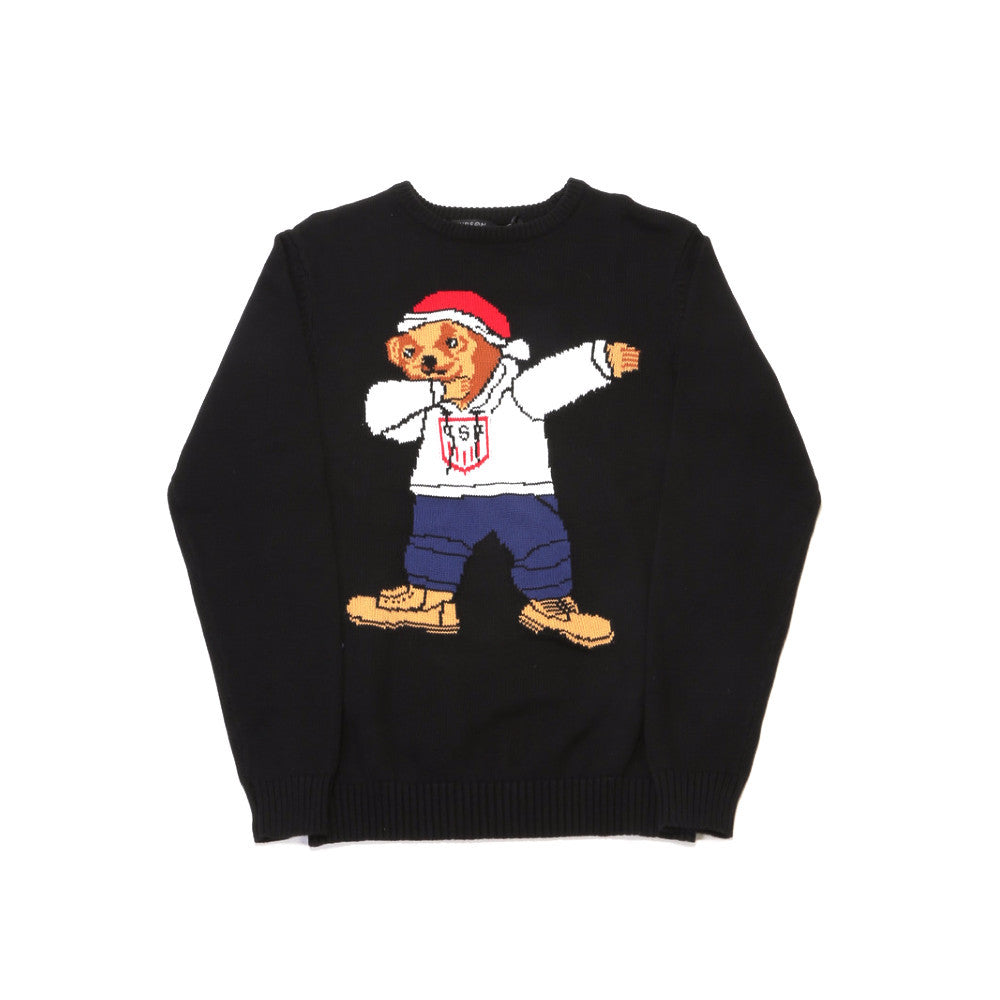 Holiday Bear Knit Sweater - Black