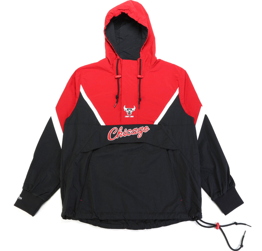 NBA Half Zip Anorack Jacket - (Chicago Bulls) Black/Red
