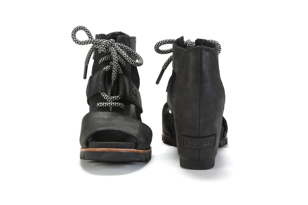 Women's Joanie Lace Wedge Sandal - Black/Sea Salt