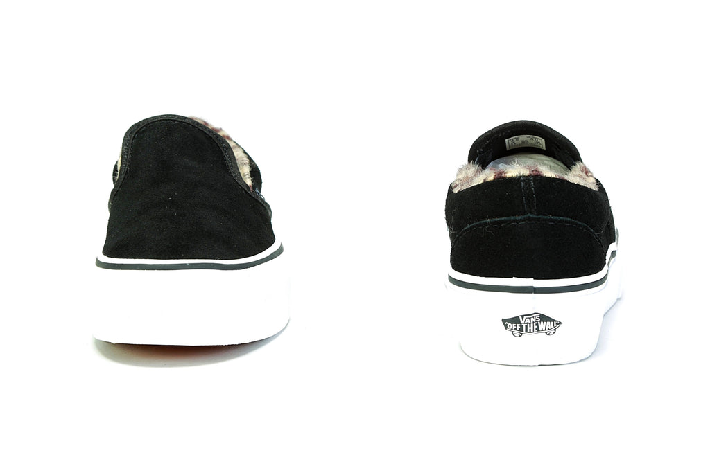 Classic Slip-On Platform - (Suede/Fur) Black/Leopard