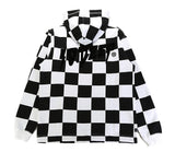 Sound & Fury Open Bottom Hoodie - (Checkerboard) Black/White