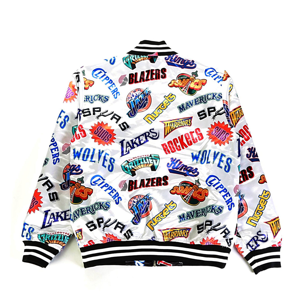 All Over Reversible East/West Satin Jacket - (NBA) Black/White