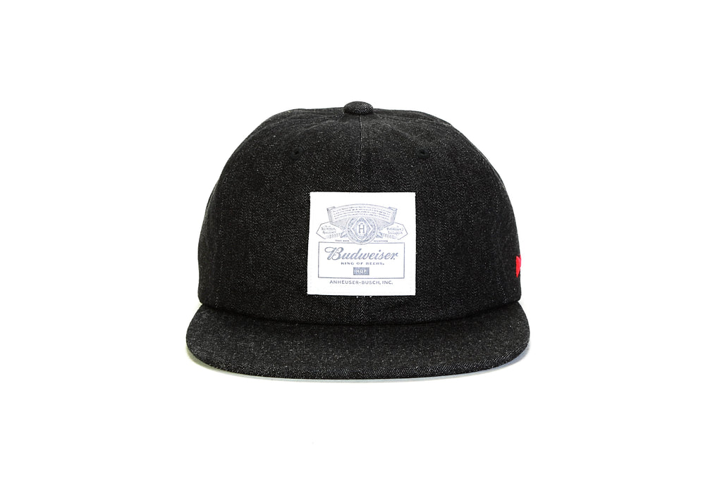 Budweiser Label 6 Panel Strapback - Black