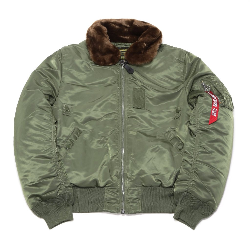 B-15 Slim Fit Jacket - Sage/Brown Fur