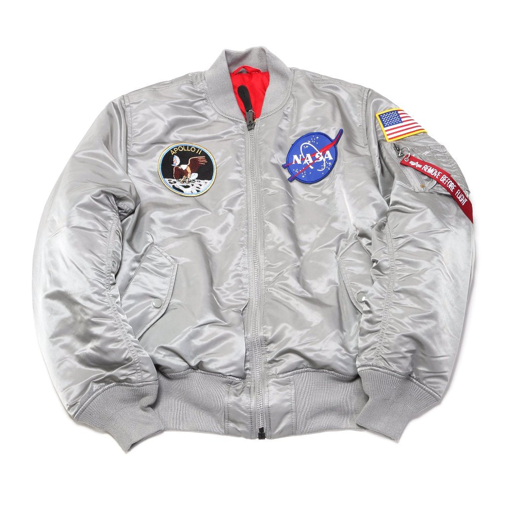 Apollo MA-1 Flight Jacket - New Silver / Red Lining