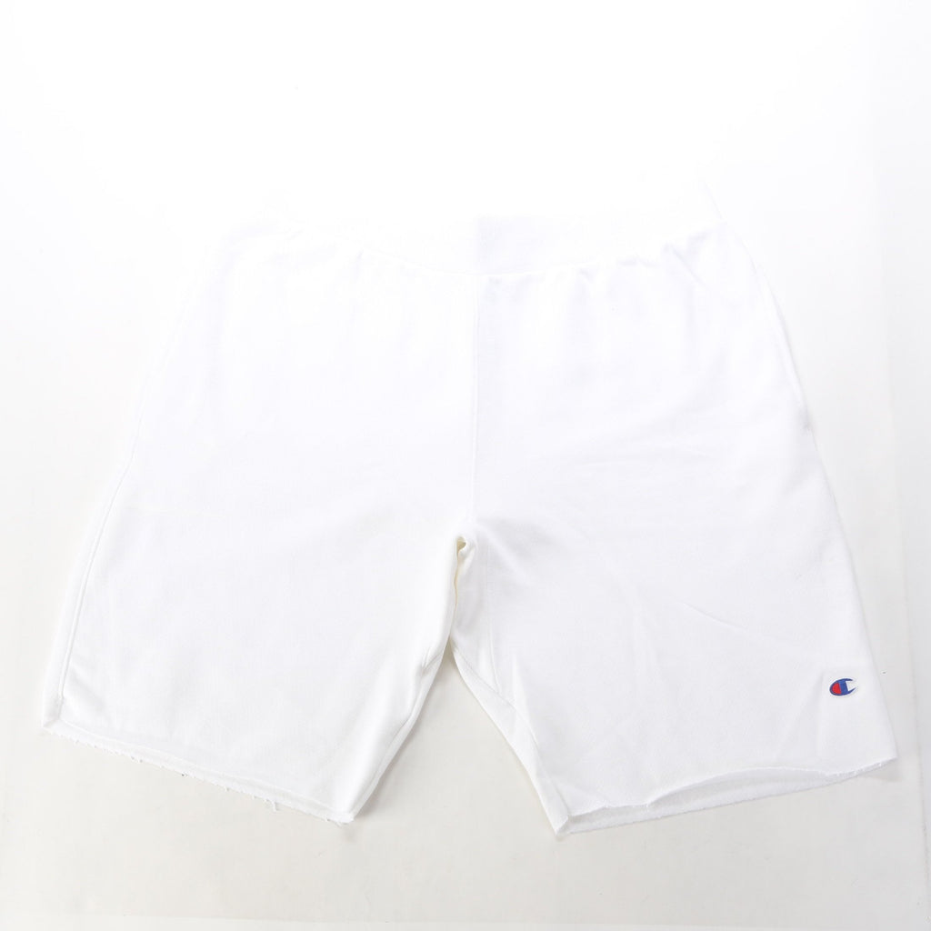 Reverse Weave Cut Off Shorts - White