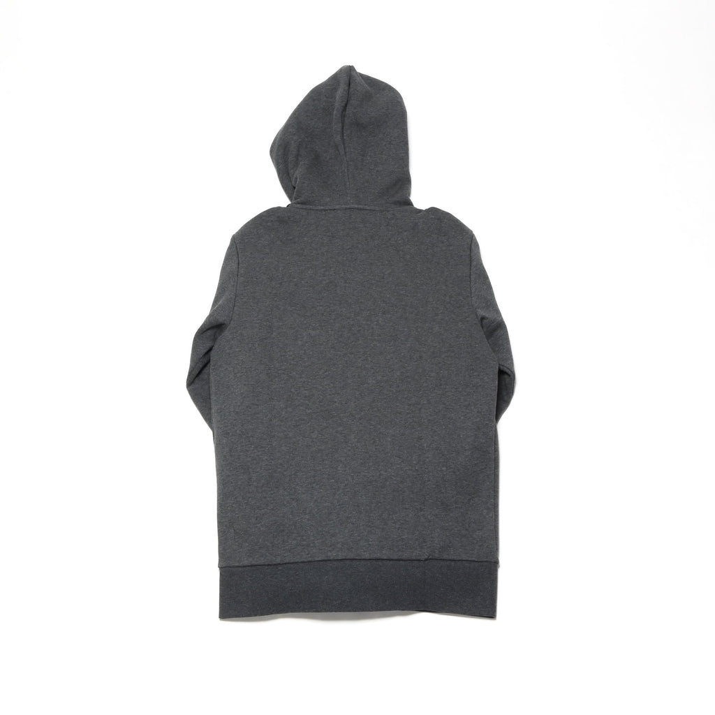 Essential 3-Stripe Full Zip Hoodie - Dark Grey Heather/Black