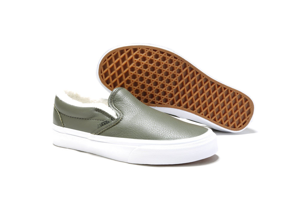 Classic Slip-On - (Leather) Grape Leaf/True White
