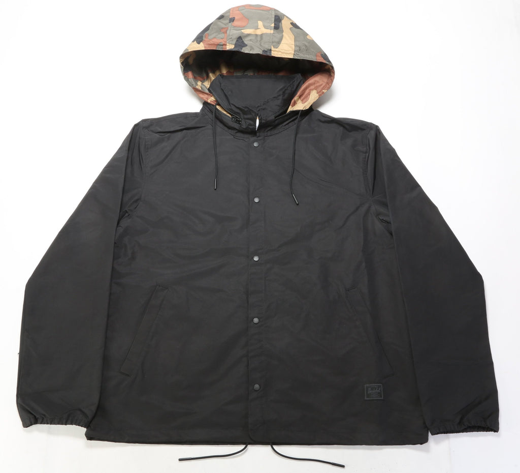 Hooded Coach Jacket - Black/Woodland Camo