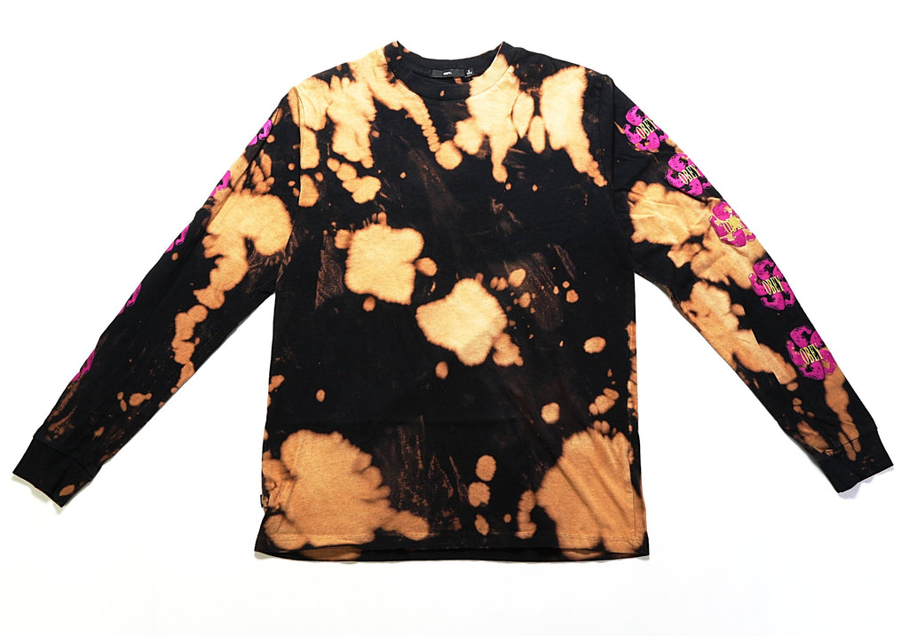 Call To Arms LS Tee - (Bleach Tie Dye) Black