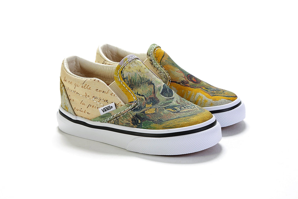 Toddlers Classic Slip On Vincent Van Gogh Skull True White Prime