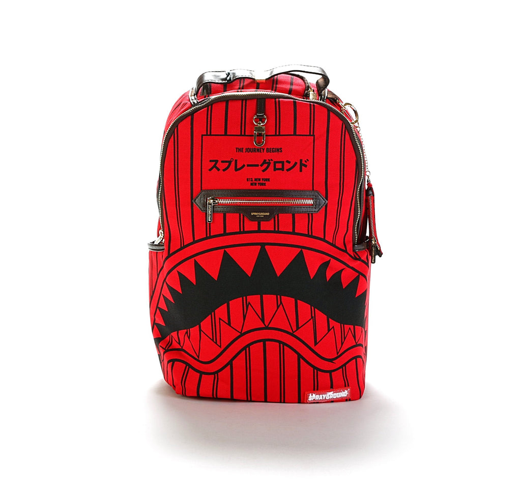 Reversed Sharks in Paris Backpack - Red