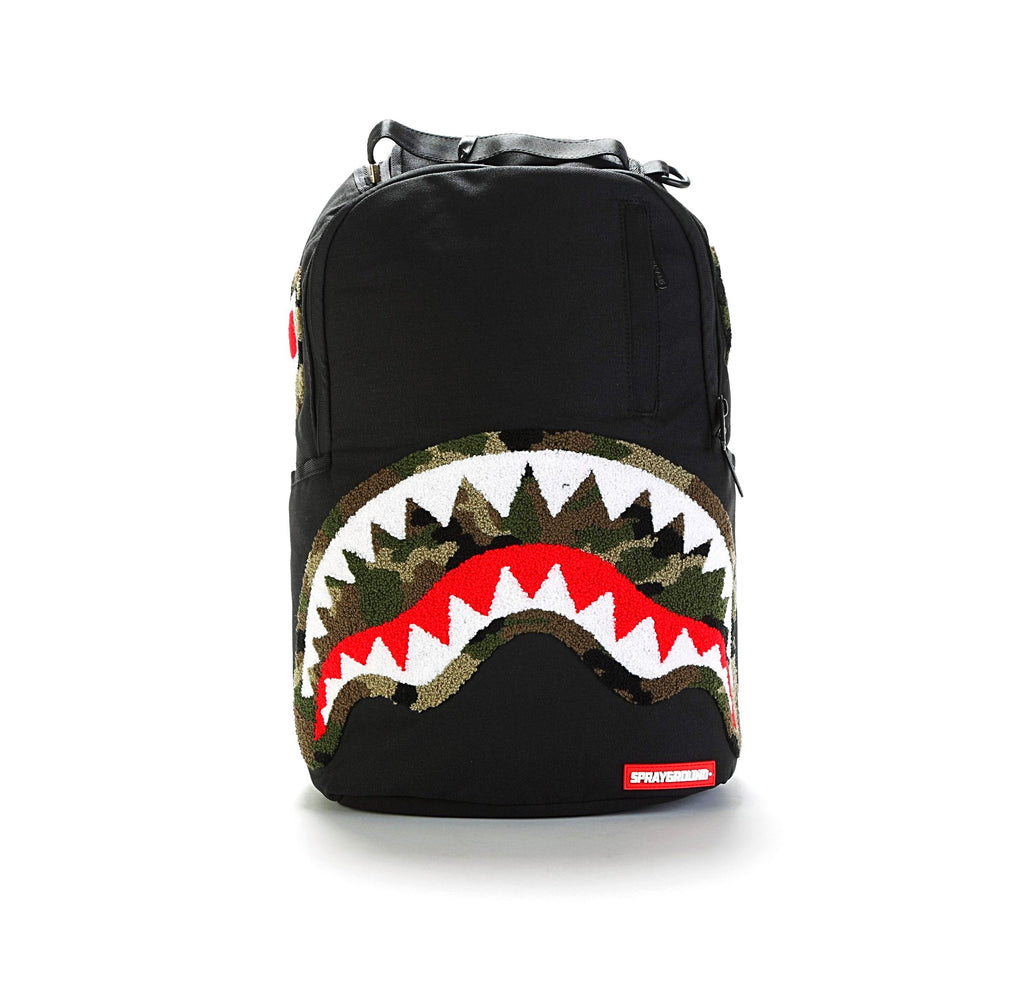 Chenille Shark Backpack - Camo