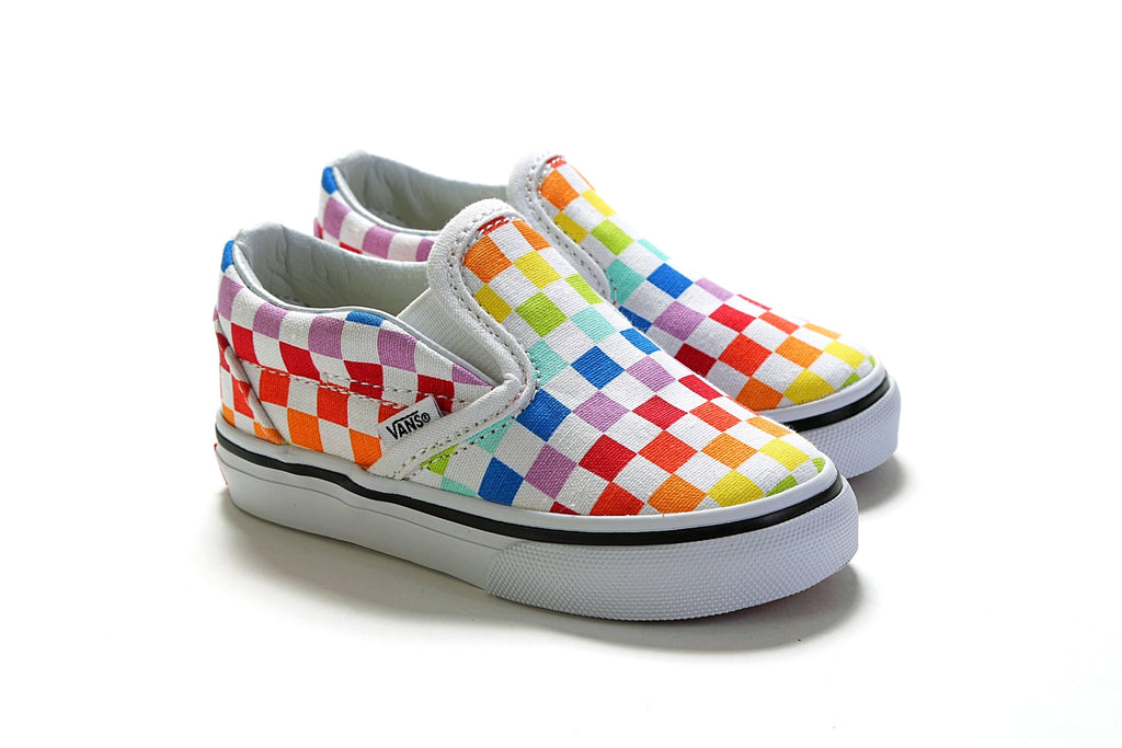 ceee5329946969 Toddler s Classic Slip-On - (Checkerboard) Rainbow True White – PRIME