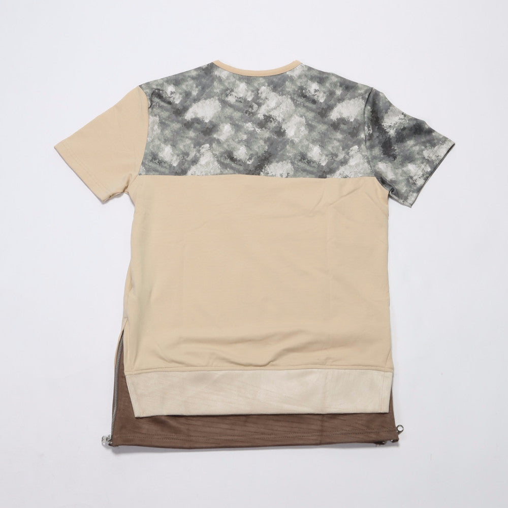 Blurred Camo Panel Tee - Beige