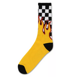 Flame Check Crew - (9.5-13, 1 Pack) Black/White Check/Flame
