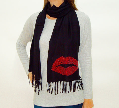 BLING SCARF WITH LIPS