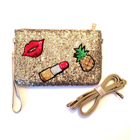 Sequin Patch Clutch- Gold