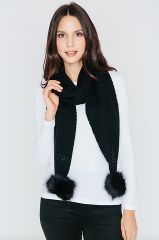 Scarf with Pom Pom in Black