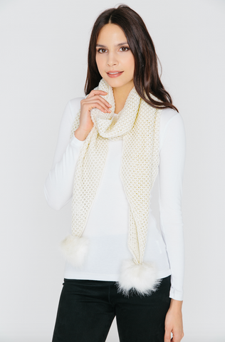 Scarf with Pom Pom in Cream