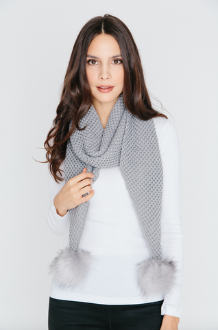 Scarf with Pom Pom in Grey