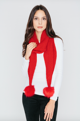 Scarf with Pom Pom in Red