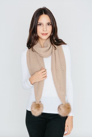 Scarf with Pom Pom in Tan
