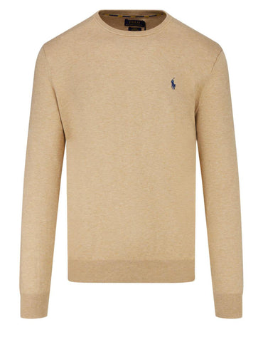 Ralph Lauren Men's 'POLO' Slim Fit Crewneck Jumper - Camel