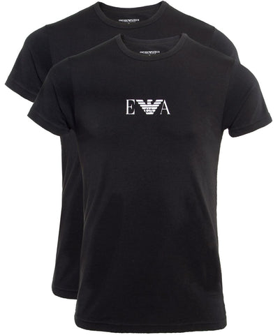 Emporio Armani 2 Pack Crew Neck T-Shirts - Black