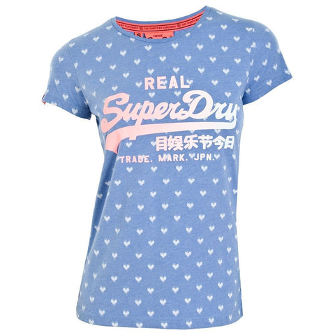 Superdry Ladies Vintage Logo AOP- Entry Tee - Grape Mist Marl