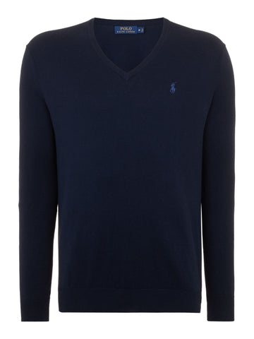 Ralph Lauren Men's 'POLO' V-Neck Cotton Sweater - Hunter Navy