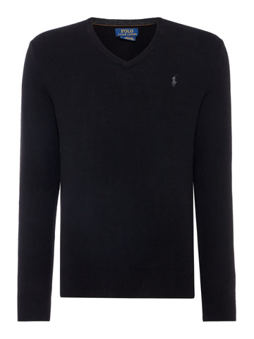 Ralph Lauren Men's 'POLO' V-Neck Merino Wool Sweater - Black
