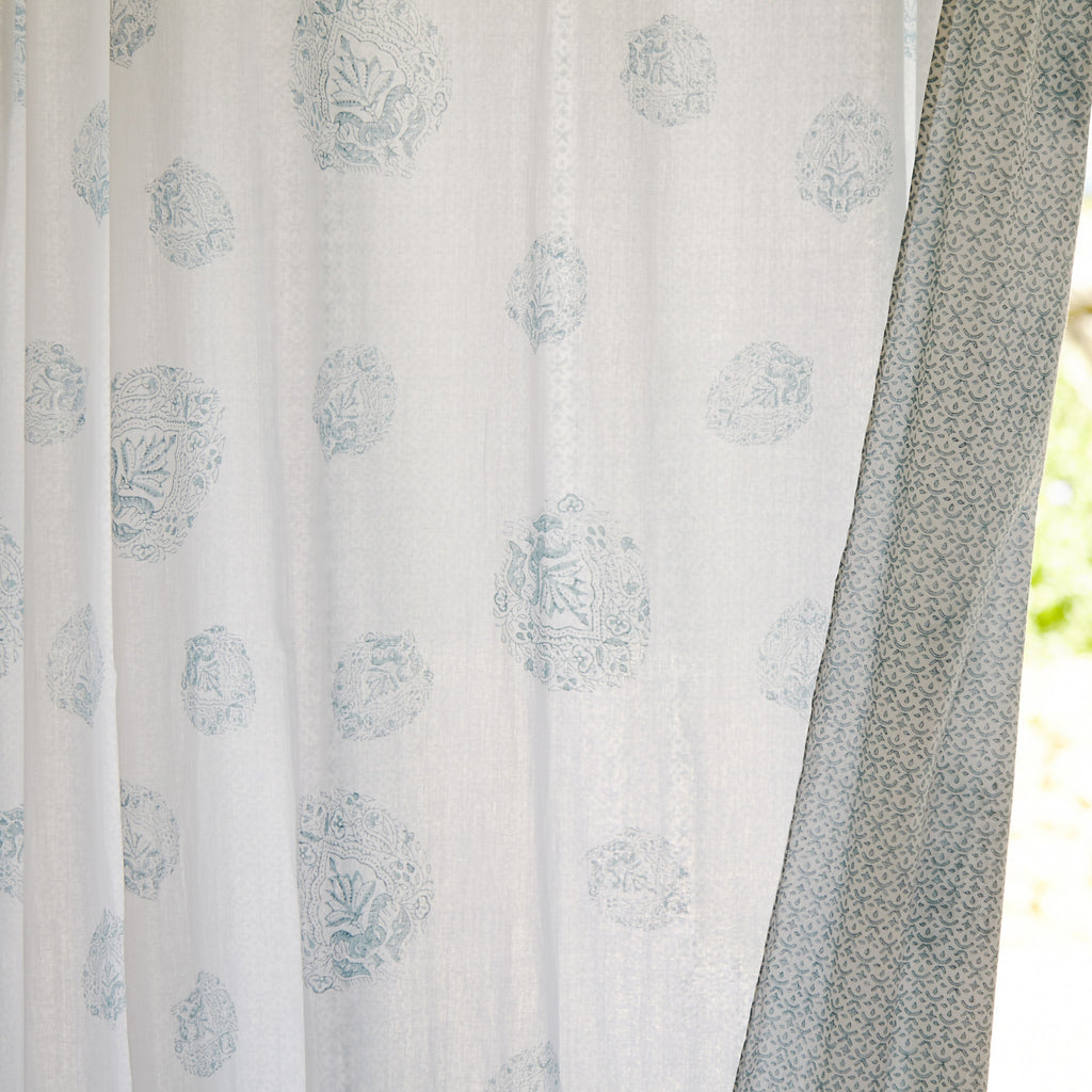 Sara Paisley Hand Block Printed Cotton Voile Curtains
