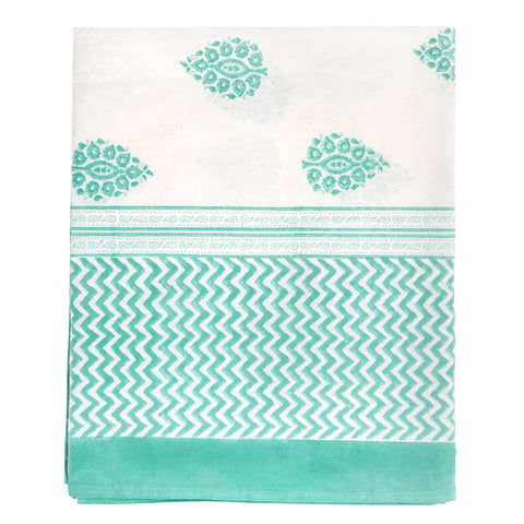 Angela Paisley Print Tablecloth   Formentera Green / Large Rectangle   (170  X 400 Cm)