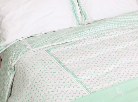 Pia Feather Hand Block Printed Duvet Cover