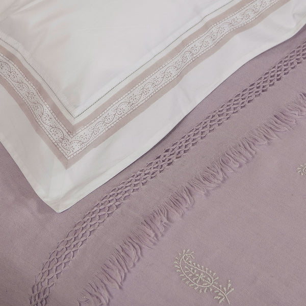 Lavender with Lilac Kashmiri Hand Embroidered Blanket