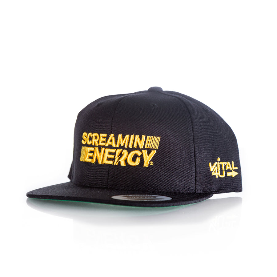 Vital 4U Screamin Energy Snapback Hat White Logo Max Hit