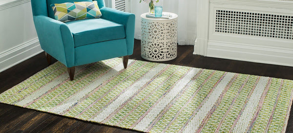 Saranya Hand-Loomed Green and Pink Area Rug