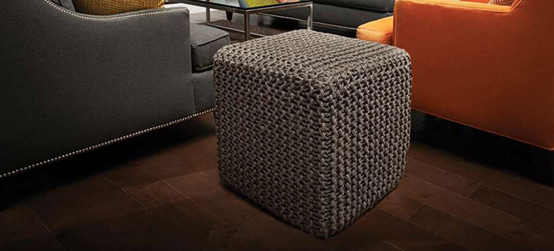 Gray Jute Pouf Square