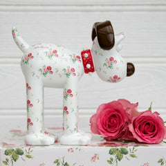 Antique Rose Gromit Unleashed Figurine by Cath Kidston. Side view. Pretty floral figurine featuring popular rose print