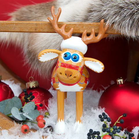 Fleece Navidad Shaun in the City resin figurine. Shaun the Sheep as you've never seen him- complete with reindeer antlers and red and gold harness to pull Santa's Sleigh!
