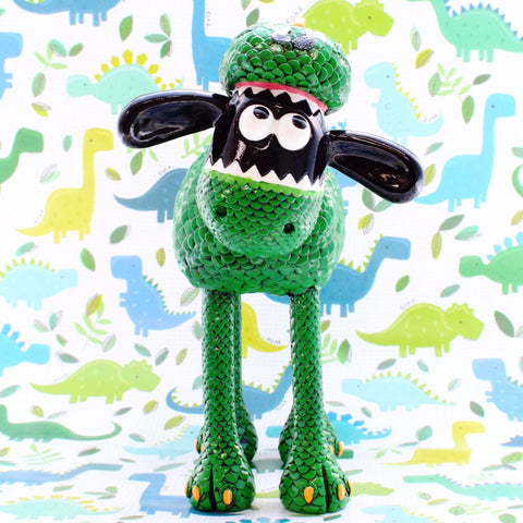 Rex Shaun the Sheep resin figurine- ferocious but friendly Rex, is Shaun in a dinosaur costume.