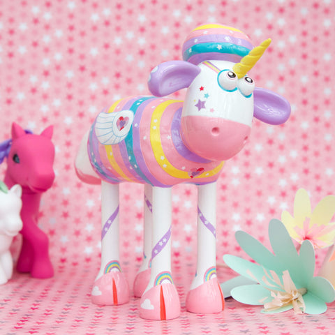 Sparkles the unicorn! The perfect gift for unicorn fans. Shaun in the city figurine of the most magical rainbow and glittered unicorn from the sculpture trail.  3/4