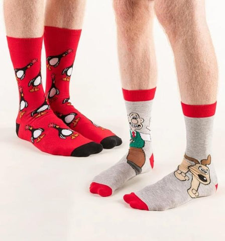 Wallace, Gromit and Feathers McGraw 2 pack socks