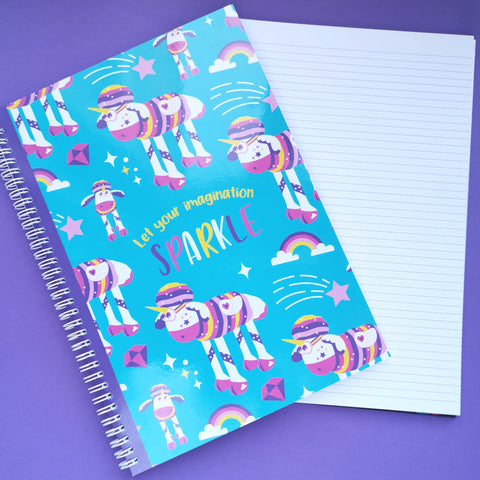 Sparkles the Unicorn A4 ringbound notebook