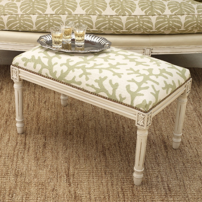 Coral Needlepoint Bench