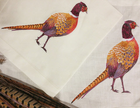 E11000 - Embroidered Pheasant Linens