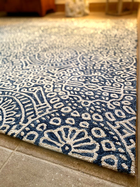 Blue and White Micro-Hooked Wool Rug