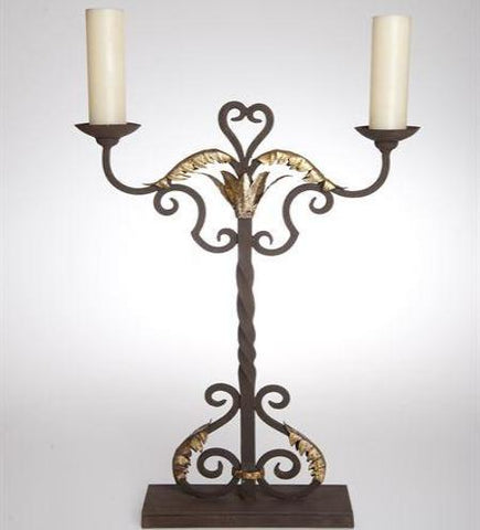 L01450 - Iron and Gold Leaf Candelabra