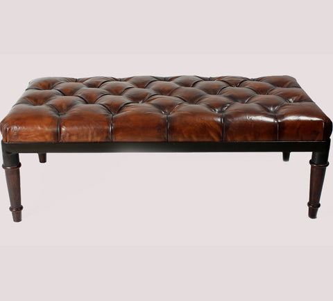 L00080 - Leather Chesterfield Ottoman